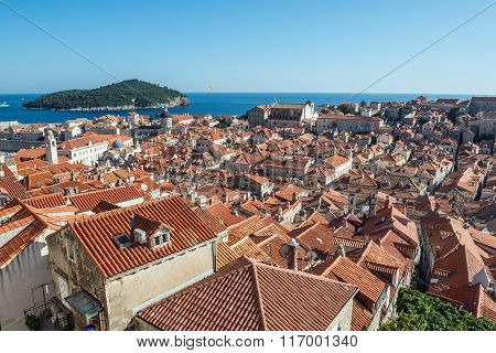 Aerial view from Walls of Dubrovnik with Lokrum island on background Croatia