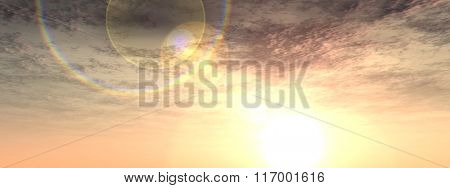 A sunset or sunrise background banner with clouds and the sun close to horizon