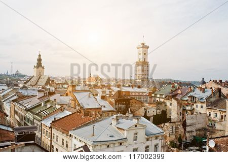 Panorama Of Old City Lviv, High Castle. Ukraine.