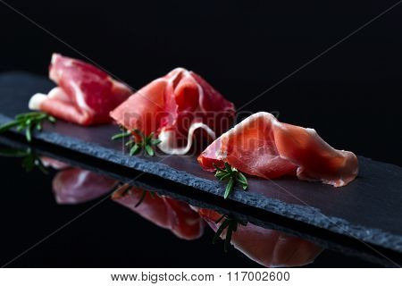 Jamon  On A Black Background
