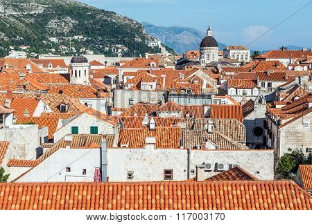 Aerial view from city walls on Old Town of Dubrovnik with Assumption Cathedral in Croatia