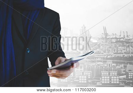 Businessman traveler holding passport, with capital city background, abstract travel concept
