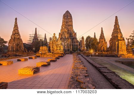 Beautiful Wat Chai Watthanaram Temple In Ayutthaya Thailand At Twilight Time Is Most Popular Tourist