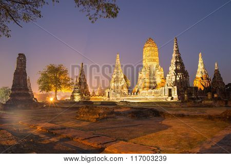 Beautiful Wat Chai Watthanaram Temple In Ayutthaya Thailand At Twilight Time Is Most Popular Tourist