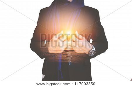 Double exposure, businessman with sunset, abstract concept, isolated on white background