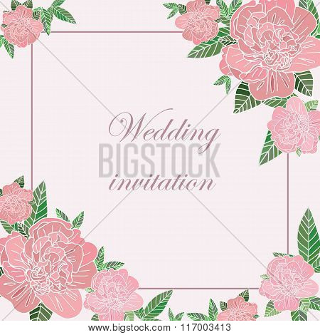 Greeting Card With Peonies
