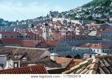 Old Town of Dubrovnik with Minceta Tower seen from city walls Croatia