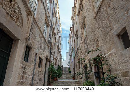 Narrow alley in Old Town of Dubrovnik Croatia