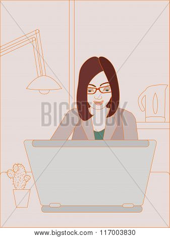 Vector Illustration Of Business Woman Working On Laptop. No Mesh And Transparency Used. Objects Grou
