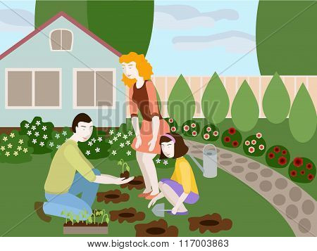Illustration Of Father, Mother And Daughter Planting Flowers Together In The Yard. Objects Grouped,