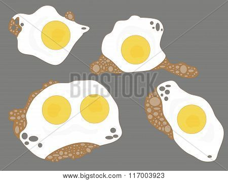 Illustration Of 5 Fried Eggs On Grey Background. Objects Grouped. No Mesh, Gradient, Transparency Us