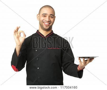 Afro American Professional Cook Holding Plate - Isolated On White.