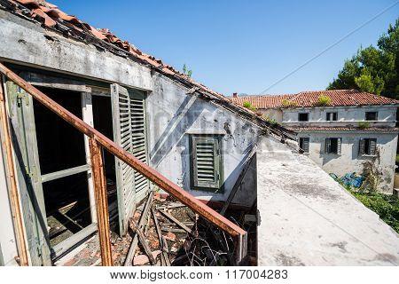 balcony bandoned hotel in former Tourist Complex of Kupari village Croatia