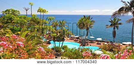 Area of a luxury hotel against Atlantic ocean. Tenerife island, Canaries