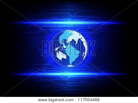 Abstract Globe On Blue Light With Circuit Line Technology And Map Dot Background
