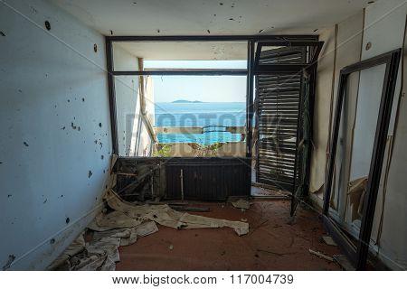 Adriatic Sea seen from abandoned hotel in former Tourist Complex of Kupari village Croatia