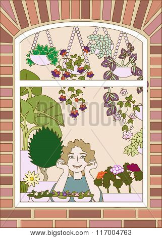 Vector Illustration Of Happy Young Girl Looking From The Window With Plenty Flowers Hanging And Stan