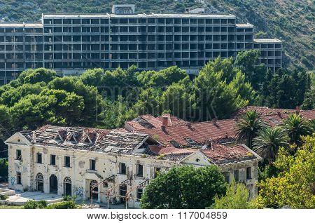 old abandoned hotels in former Tourist Complex of Kupari village Croatia