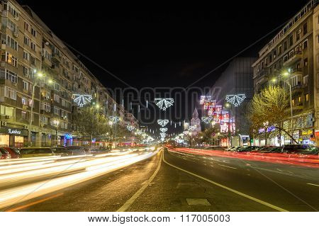 Bucharest, Romania - December 25: Magheru Bvd On December 25, 2015 In Bucharest. New Year And Christ