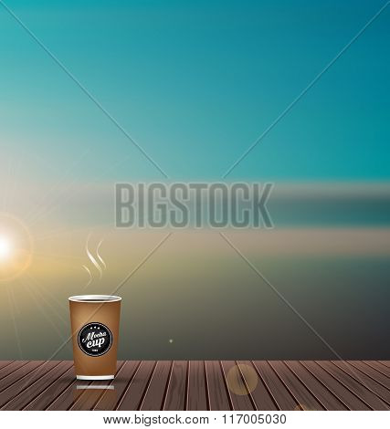 Relax,Holiday,wooden texture floor with skyline nature scenery background and coffee cup