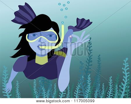 Vector Illustration Of Underwater Swimmer Holding A Pearl. No Mesh And Transparency. Gradient Used.o