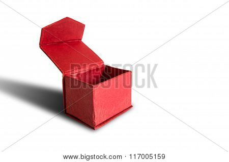 Opened red box, isolated on white background