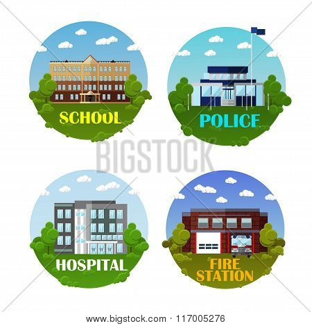 City buildings vector icon set in flat style. Design elements and emblems. School, police department