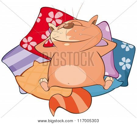 Vector Illustration of a Cute Cat. Cartoon Character