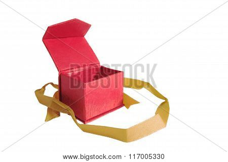 Opened red box with gold ribbon, isolated on white background