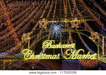 Bucharest, Romania - December 25: Bucharest Christmas Market On December 25, 2015 In Bucharest. Hori