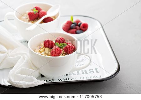 Bircher muesli with apple, nuts and berries
