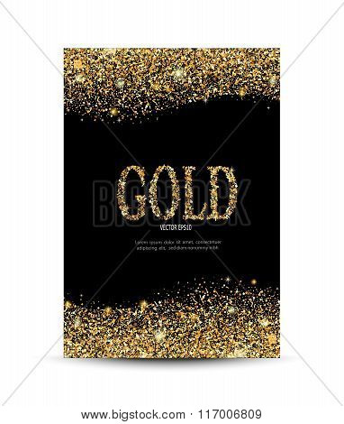 golden sparkling on the card