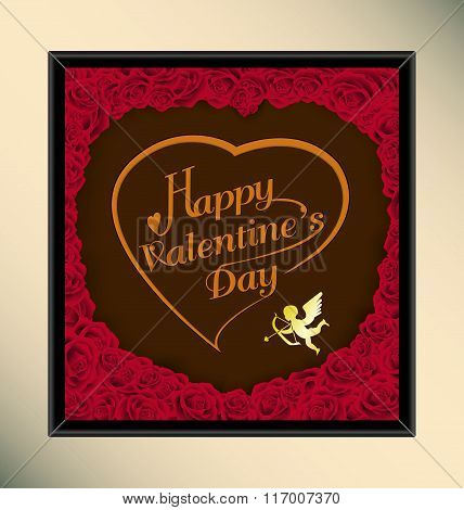Happy valentine day on chocolate background texture with roses in frame,