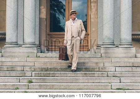 Vintage Commercial Traveler Walking Down Stairs At Front Door.