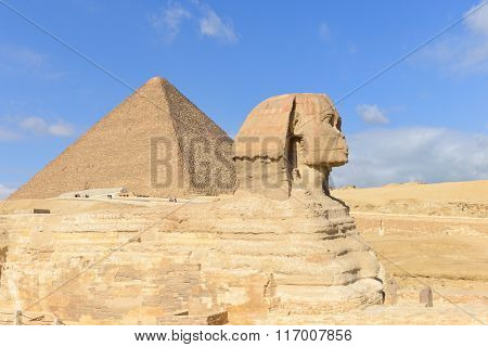 Sphinx and Giza Pyramids in Cairo, Egypt
