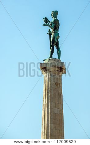 Pobednik Monument (The Victor Monument) in Belgrade Fortress in Serbia
