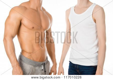 Bodybuilding Coach Topic: Beautiful Strong Bodybuilder Coach Stands Next To A Thin Man Isolated On A