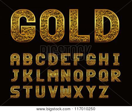 Latin Alphabet With Golden Texture