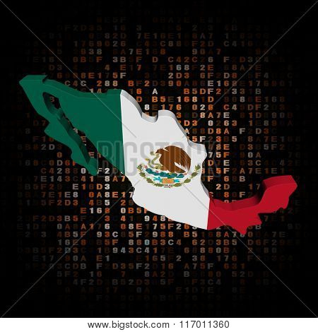 Mexico map flag on hex code illustration