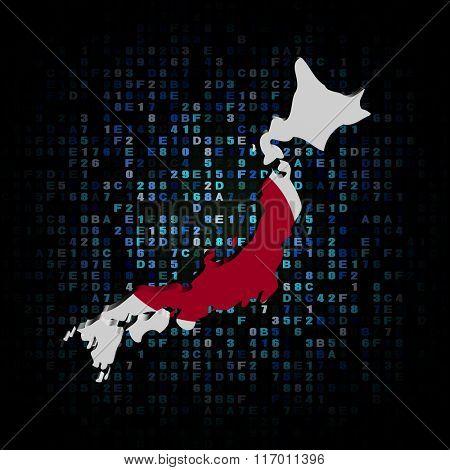Japan map flag on hex code illustration