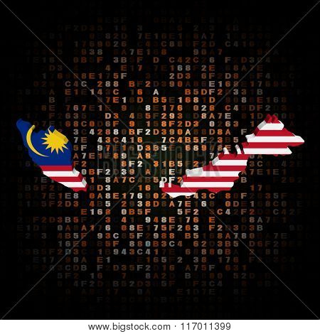Malaysia map flag on hex code illustration