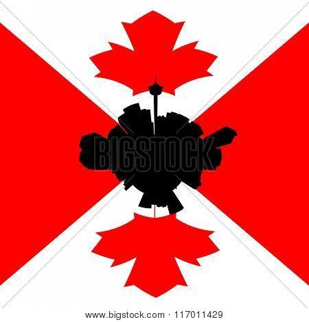 Calgary circular skyline with Canadian flag illustration