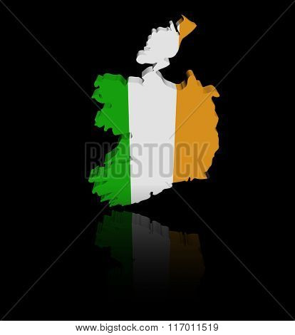 Ireland map flag with reflection illustration