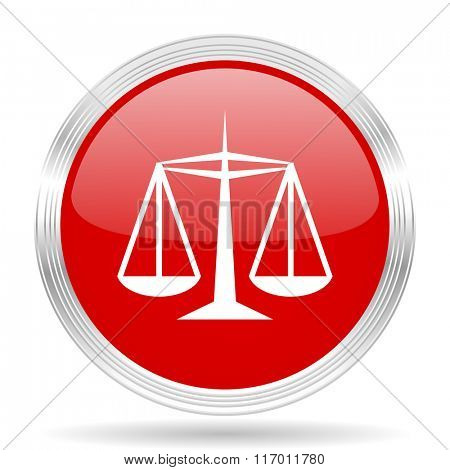 justice red glossy circle modern web icon on white background