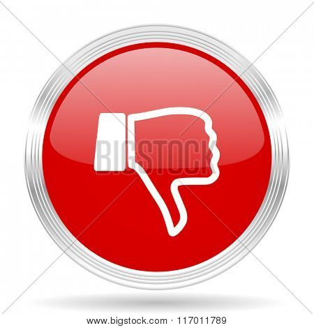 dislike red glossy circle modern web icon on white background