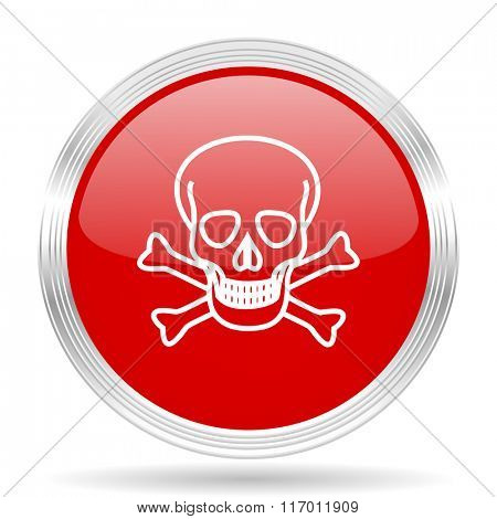 skull red glossy circle modern web icon on white background