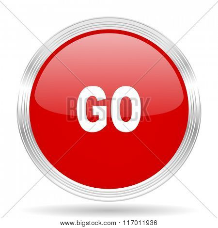 go red glossy circle modern web icon on white background