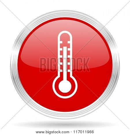 thermometer red glossy circle modern web icon on white background