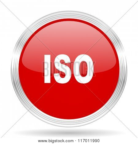 iso red glossy circle modern web icon on white background