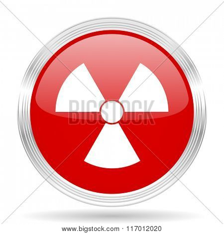 radiation red glossy circle modern web icon on white background
